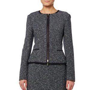 HUGO BOSS Kalaila Navy Tweed Zippered Blazer   6